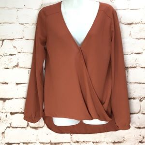 NEW Nasty Gas Lush Long Sleeve Rust Crossover top